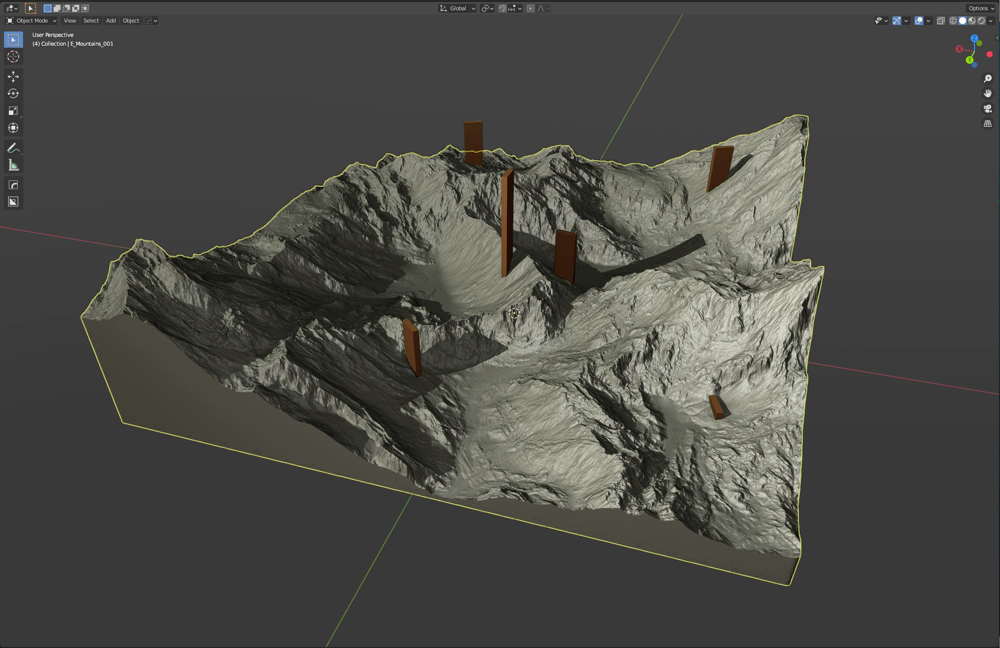 """Solidifying the block and cutting away the holes for the """"towers"""" in Blender 3d ... 5 Million polys"""