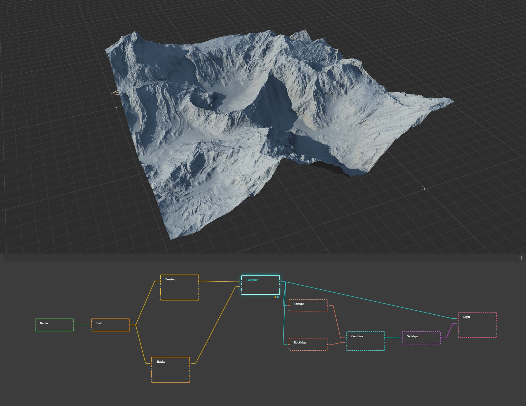 Quadspinner Gaea Screenshot - simulating slopes and geological transformations